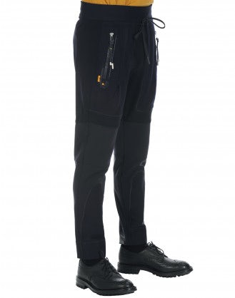 HI-LEAP: Navy joggers with tech flannel
