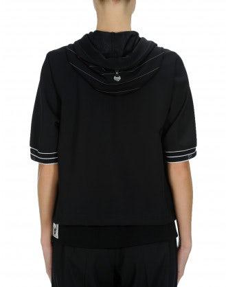 BOUNCE: Short sleeve pinstripe hoodie