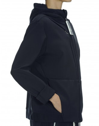 "BUSTLE: Hooded ""neoprene"" jersey jacket"