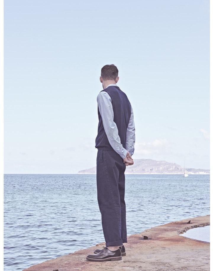 GRANT: Pantalone a gamba dritta in drill blu scuro