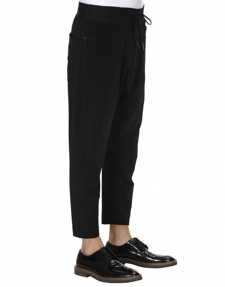 RAVEN: Pantalone jogging con cavallo basso nero