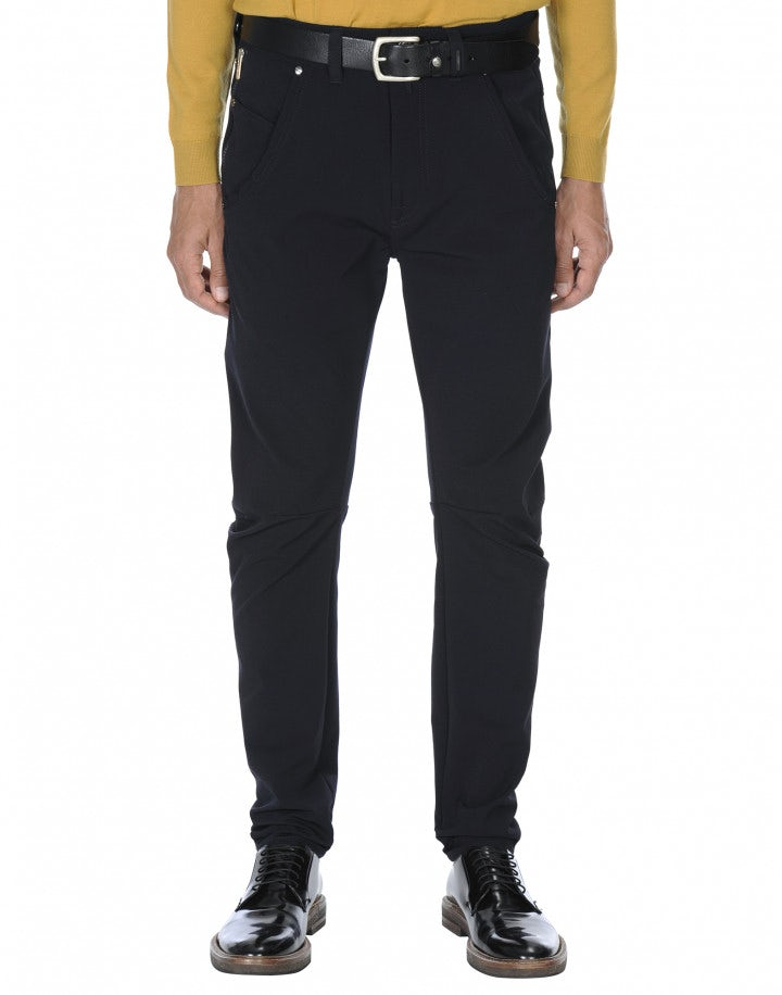 STEFAN: Pantalone blu scuro in twill tecnico
