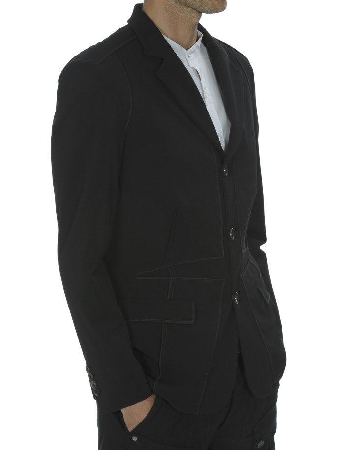 OTTO: Giacca nera in crêpe tecnico con cuciture multiple