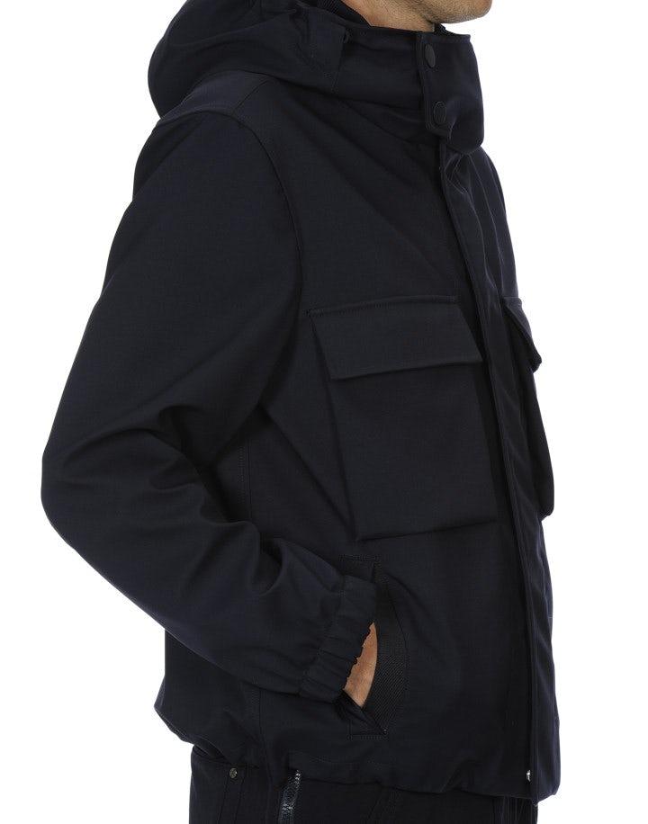 ALL-SEASON: Giacca con cappuccio in lana tecnica blu navy