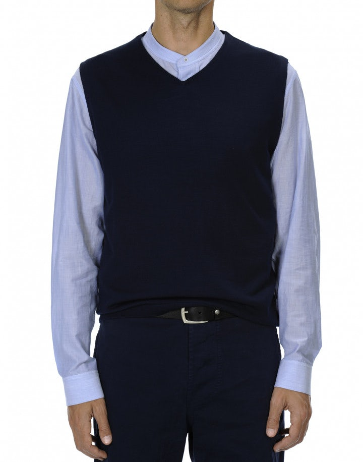 HODGKIN: Gilet blu in lana ultra leggera