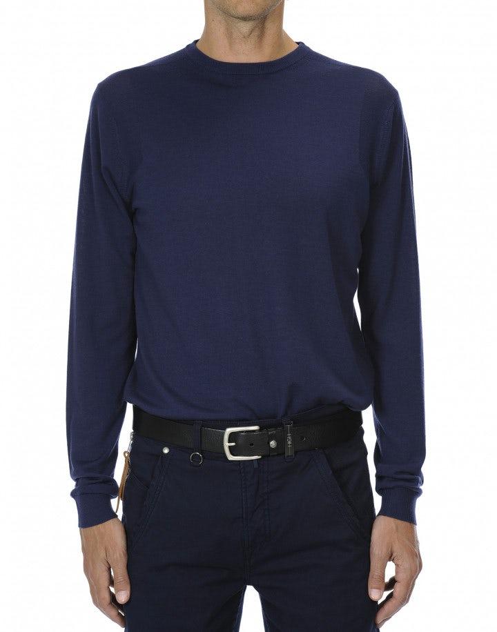 LEIGHTON: Maglia in lana ultraleggera blu
