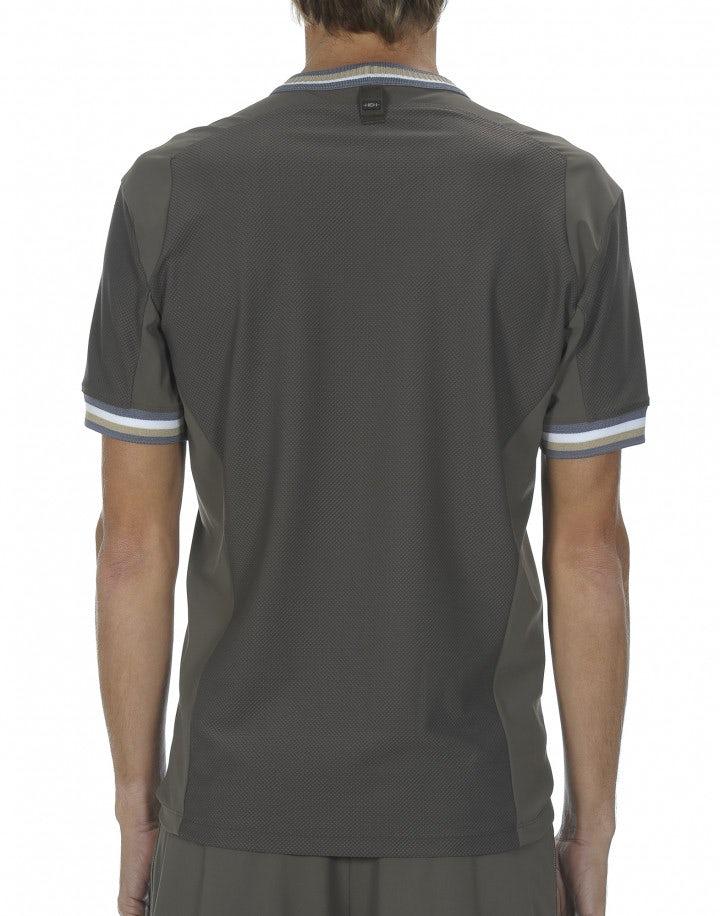 "ROLF: T-shirt khaki con stampa ""pneumatico"""