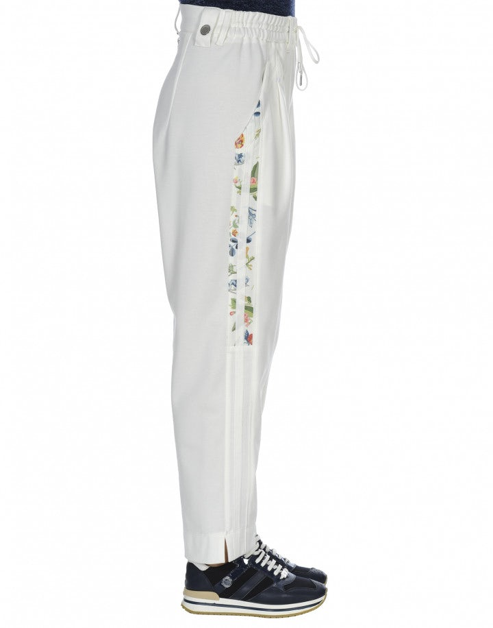 RHETORIC: Pantaloni bianchi in jersey con righe stampate