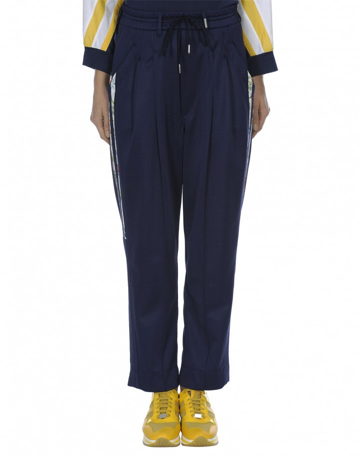 RHETORIC: Pantaloni color blu navy in jersey con righe stampate