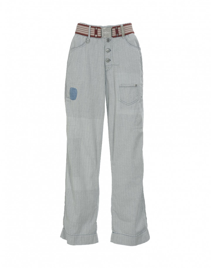 """HUCK: Jeans a vita alta con trattamento """"sun bleach"""""""