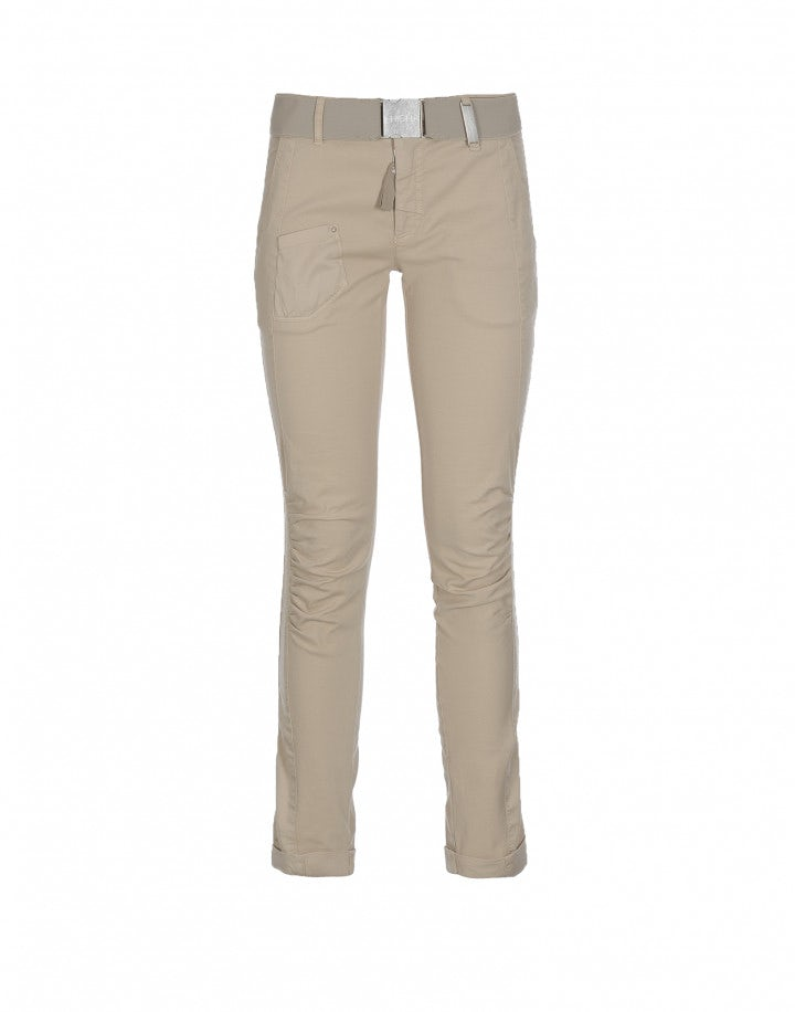 ON FORM: Pantalone con arricciatura laterale beige