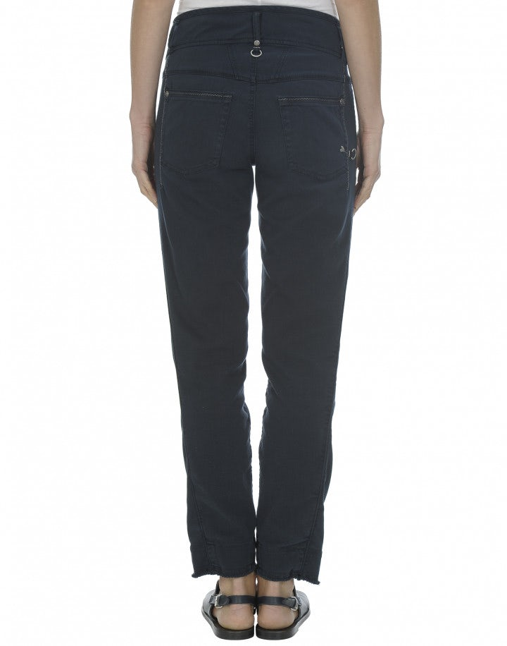 GALLES: Pantaloni blu scuro con orlo sfrangiato