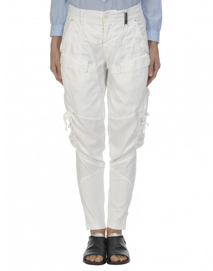 BRAVERY: Pantaloni in stile jodhpur bianchi