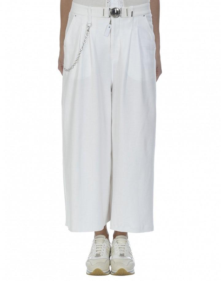 CLOSURE: Culottes in jersey bianco a 3/4
