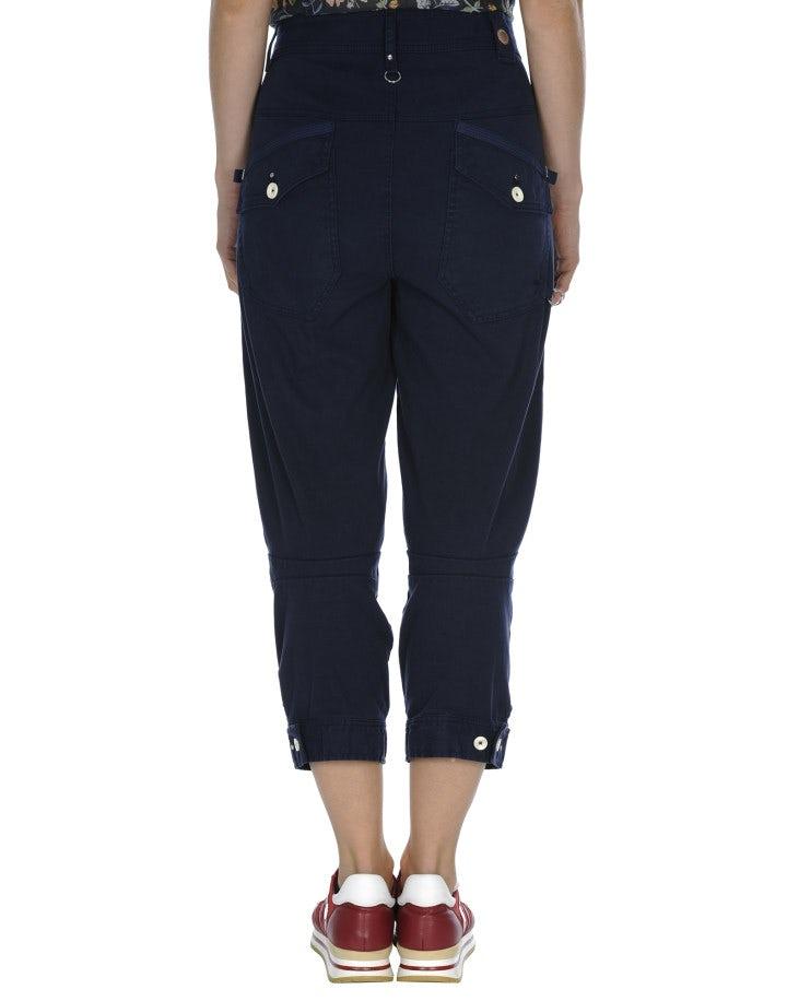 PLUCKY: Pantaloni blu navy con orlo abbottonato