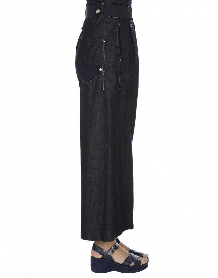 TANGRAM: Pantaloni ampi patchwork in chambray