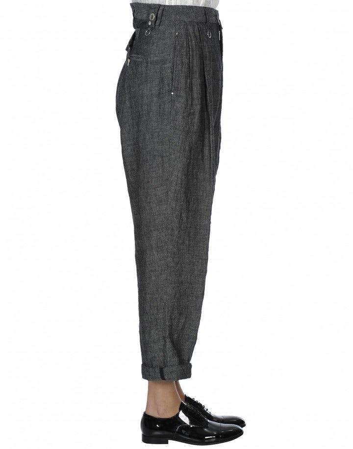 IDEALIST: Pantaloni in lino con bretelle