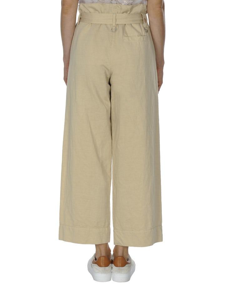 IN DEPTH: Pantaloni ampi con cintura annodabile color beige