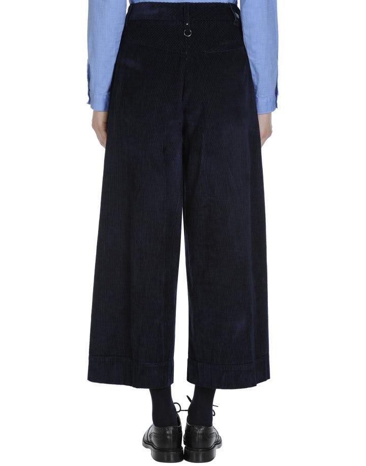 BELL-BOY: Wide leg culottes in navy corduroy