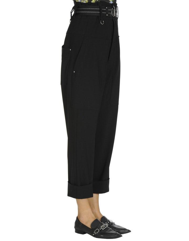 EVADE: High waisted pant in black blue virgin wool