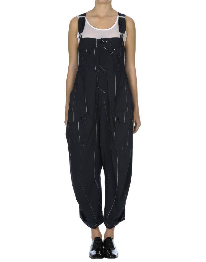 ROMP: Salopette blu a righe con pantaloni drappeggiati