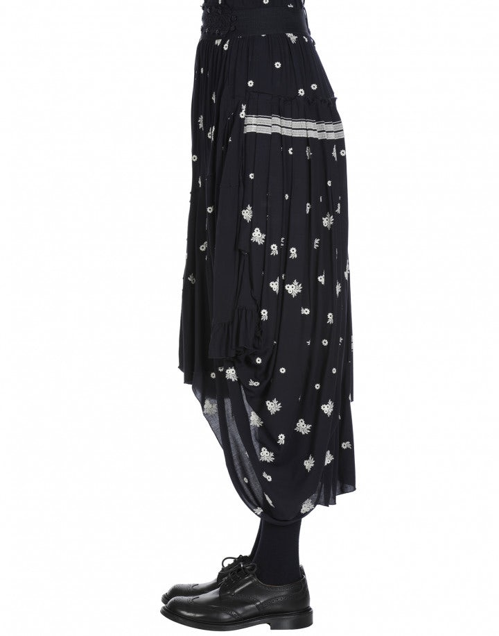 PERFORM: White floral embroidered and plain navy rayon skirt