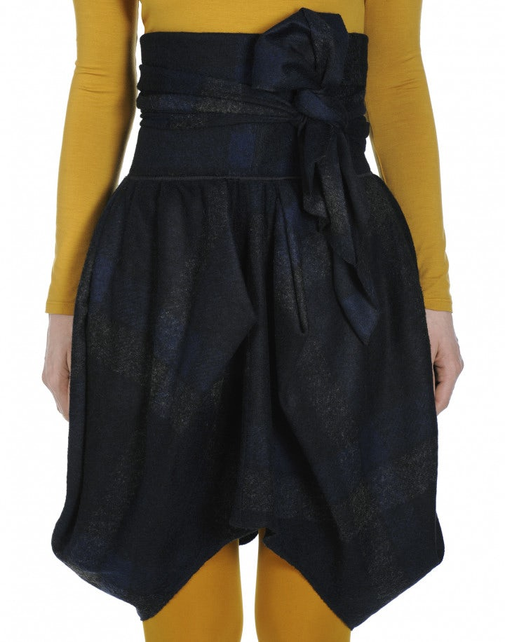 CELT: High waisted wrap-and-tie checked skirt