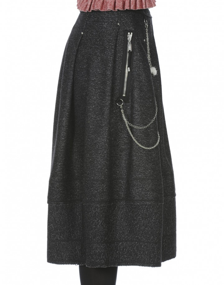 BURLETTA: Charcoal flecked wool skirt