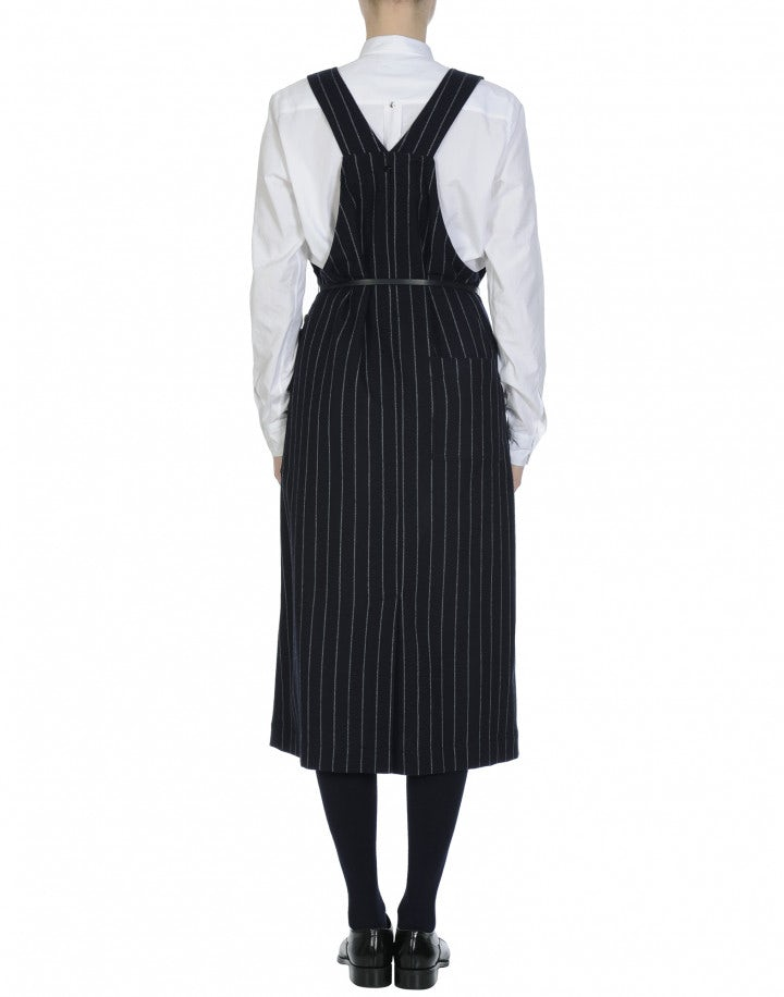 PURPOSE: Pinafore dress in navy and white pinstripe