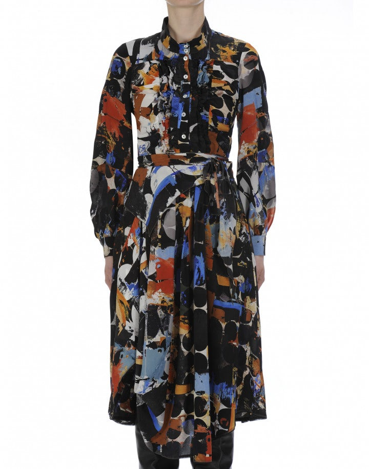 RADIANT: Shirt-waist dress in abstract black and multi-colour print