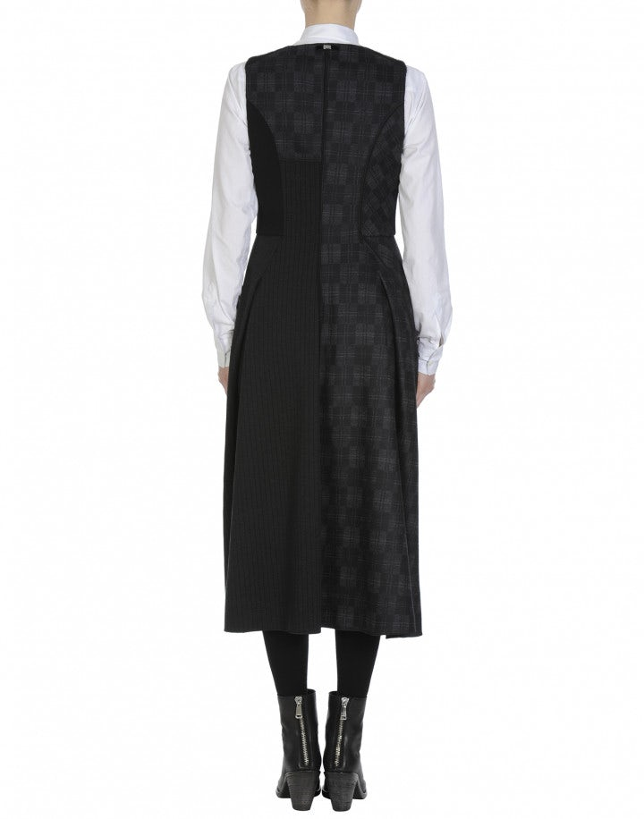 FANCIFUL: Multi texture sleeveless dress in black and grey