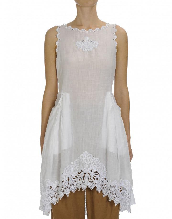 WALTZ: White sleeveless dress