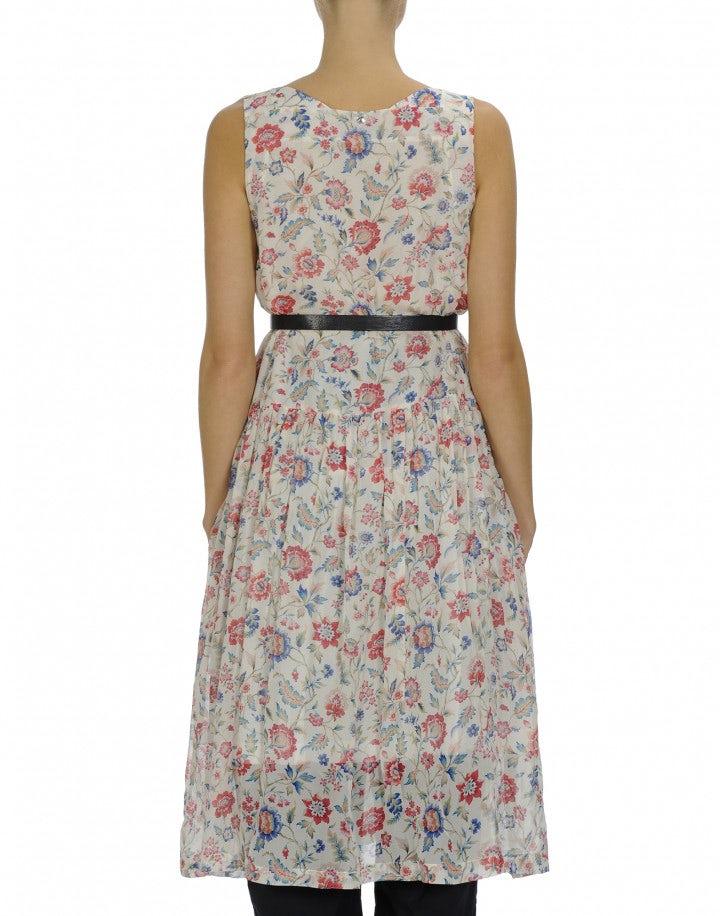 SERENE: Floral print square neck sleeveless dress