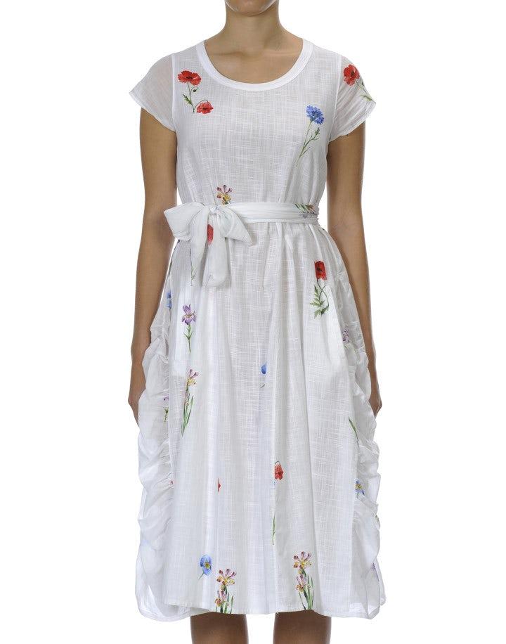 FIESTA: Abito bianco con motivi floreali dipinti a mano