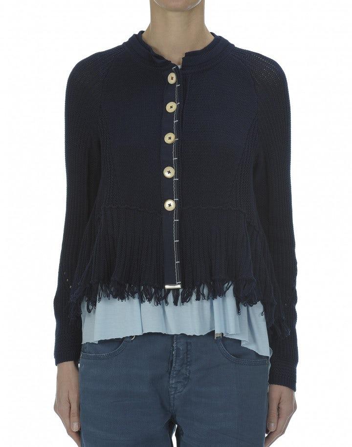 URCHIN: Giacca in maglia con frange