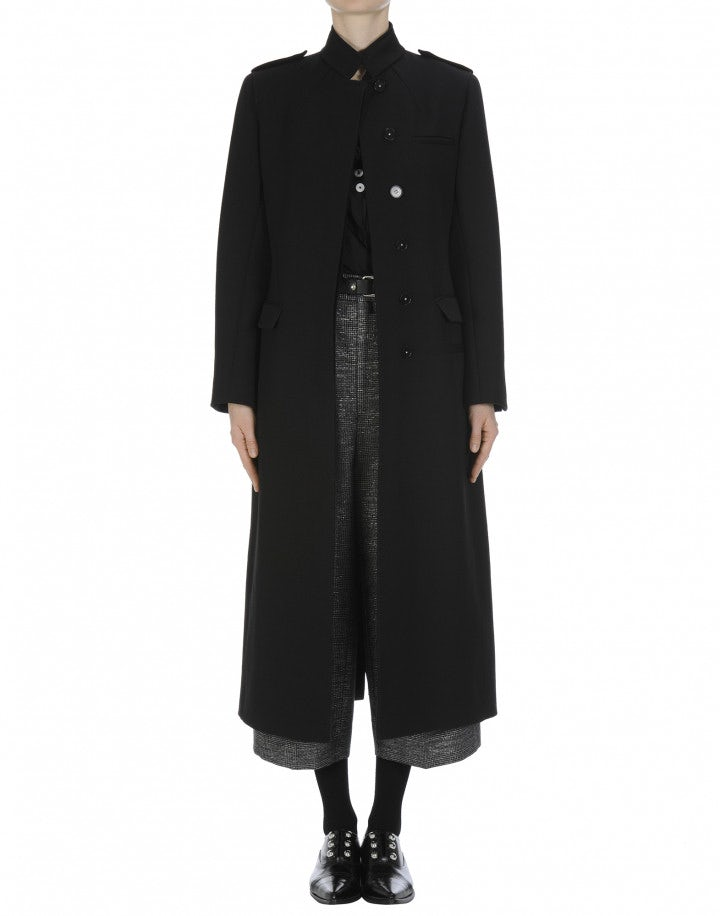 BEWILDER: Stand collar long coat in black wool