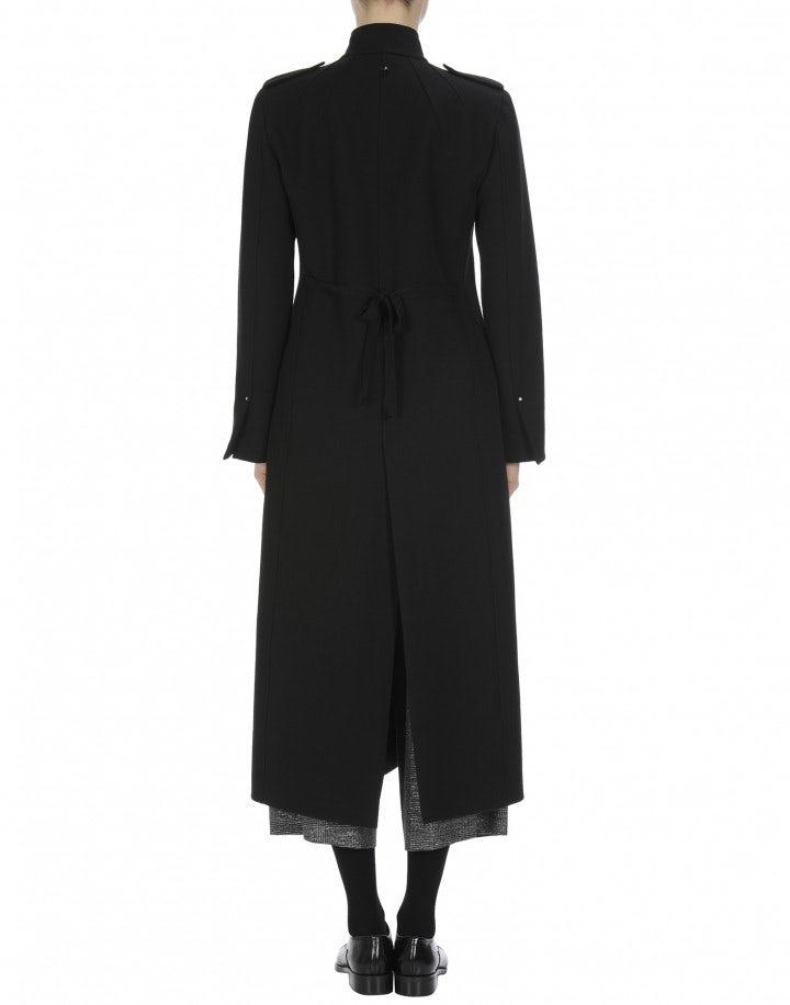 Bewilder langer mantel mit stehkragen aus schwarzer wolle high - Schwarzer langer mantel ...
