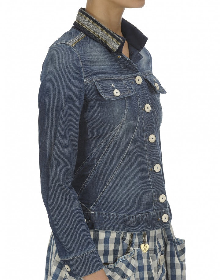 FRONTIER: Giacca in denim con colletto ricamato