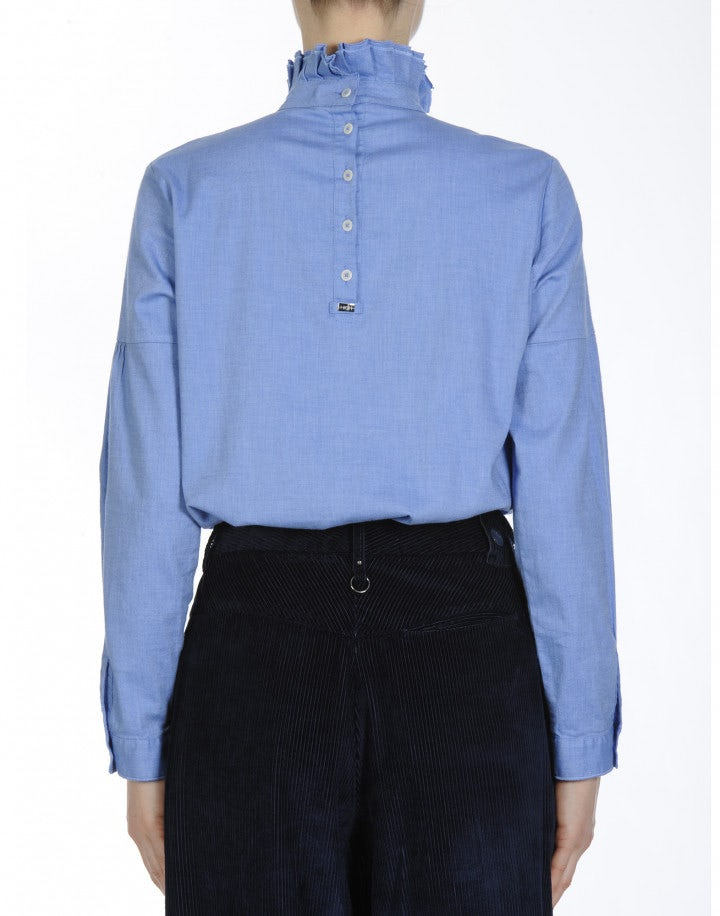 PROLOGUE: High neck ruffled shirt in soft brushed cotton twill