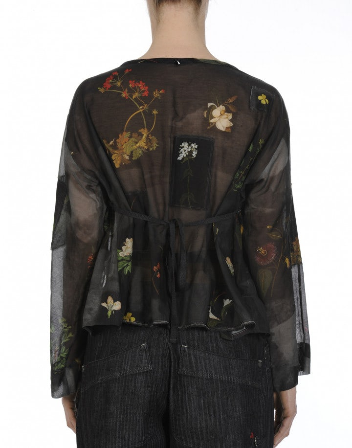 WONDER: Wide cut top in floral printed cotton and silk