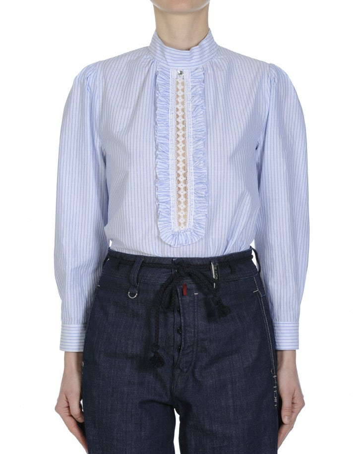 GLIMPSE: Blue and white cotton stripe shirt with ruffle front