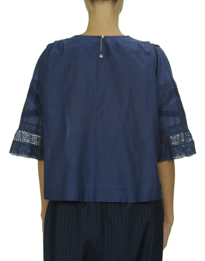 AWAKE: Blue pin-tuck front top
