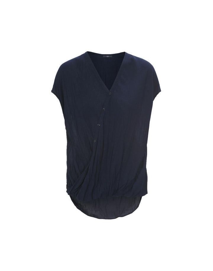 FIX IT: Camicia blu in viscosa con drappeggio