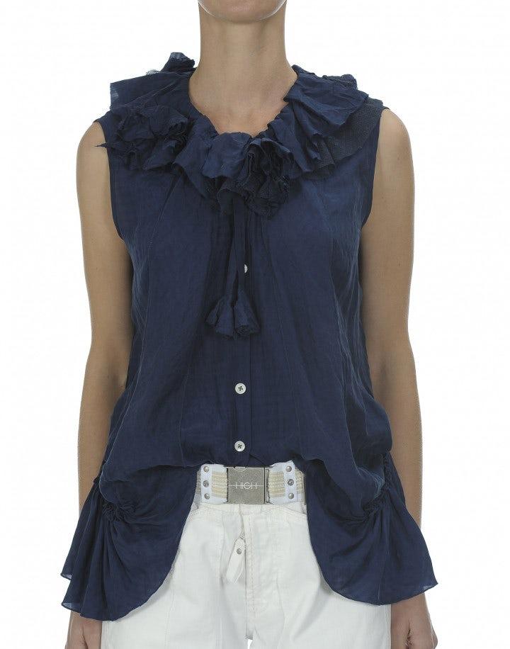 ENJOY: Top in blu navy con balze