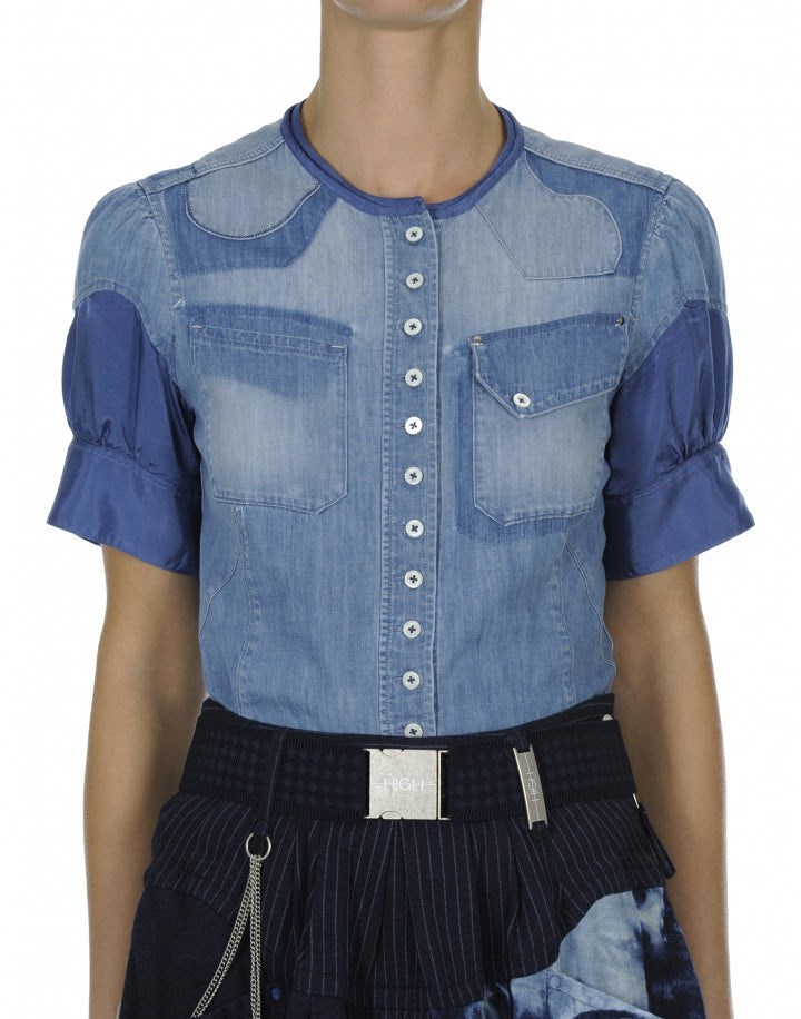 DUO: Camicia in chambray sfumato e cupro