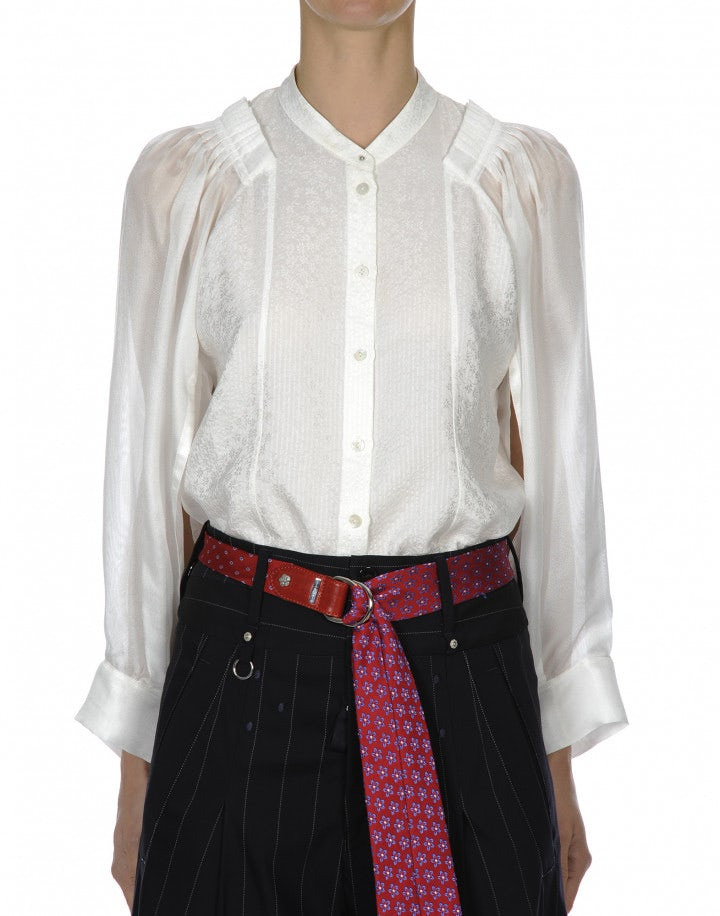 SHIRK: Camicia in seersucker damascato color crema