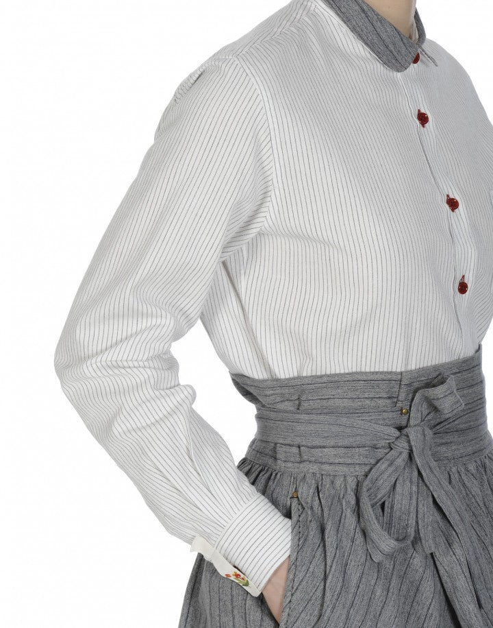 DEVOTE: Black and white ticking shirt with contrast grey collar