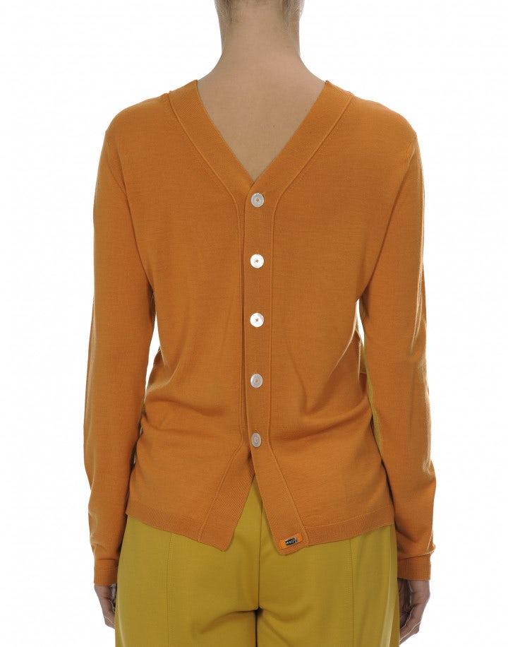 AVID: Maglia con abbottonatura posteriore giallo ocra e arancione