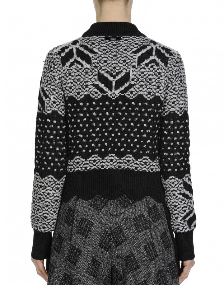 MAGICAL: Grey and black fair isle turtleneck sweater