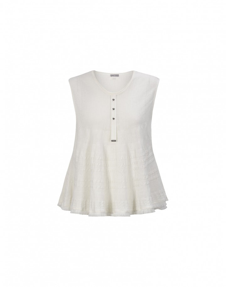 PELISSE: Top in maglia color crema con frange
